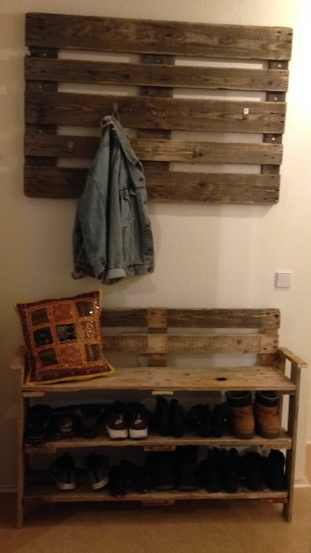 Up-cycled Shoe Bench and Coat Rack
