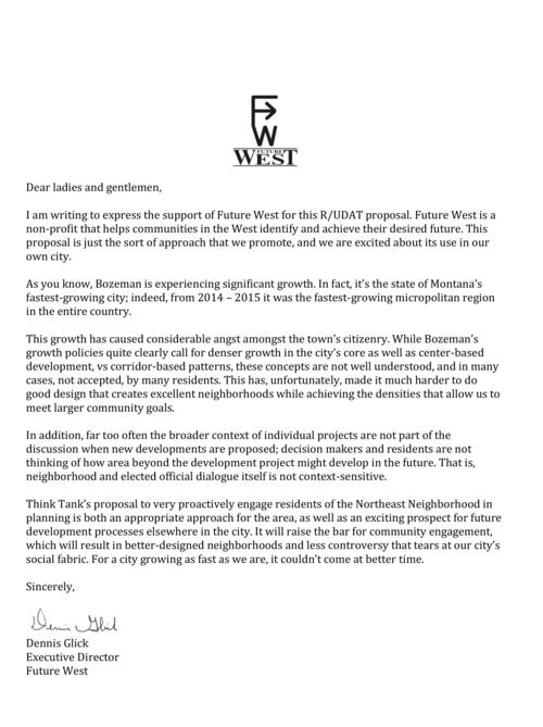 Community support bozeman rudat future west r udat letter of support 1g spiritdancerdesigns Gallery