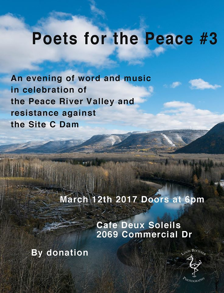Winter blues got you down? Bring your friends out to celebrate all our work and our vibrant community of resistance and revolution!  An evening of spoken word and rap to raise funds for the Indigenous struggle against the Site C Dam. Let's nourish ourselves with good food, good company, and good art!  The funds raised will go directly to the West Moberly and Prophet River First Nations for their legal challenges against Site C, through the purchase of Stakes in the Peace ( http://www.stakeinthepeace.com/ ).   Performers include:   Crystal Smith   Ostwelve   Molly Billows   Nipawi Mahihkan Misit Kakinoosit   Audrey Siegl  ... and others  As well as special guest speaker Caleb Behn, Treaty 8 lawyer and activist!  Keep watching this page as we announce more incredible performers.