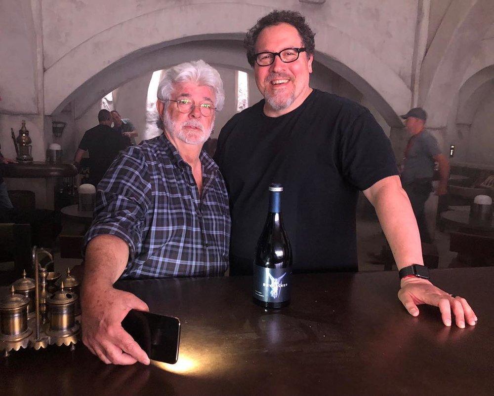 George Lucas and Jon Favreau. source: Starwars.com