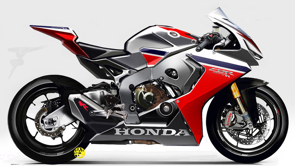 An ultimate Honda Fireblade, as imagined by Honda's art department. We like the 'RR' detailing on stubby exhaust