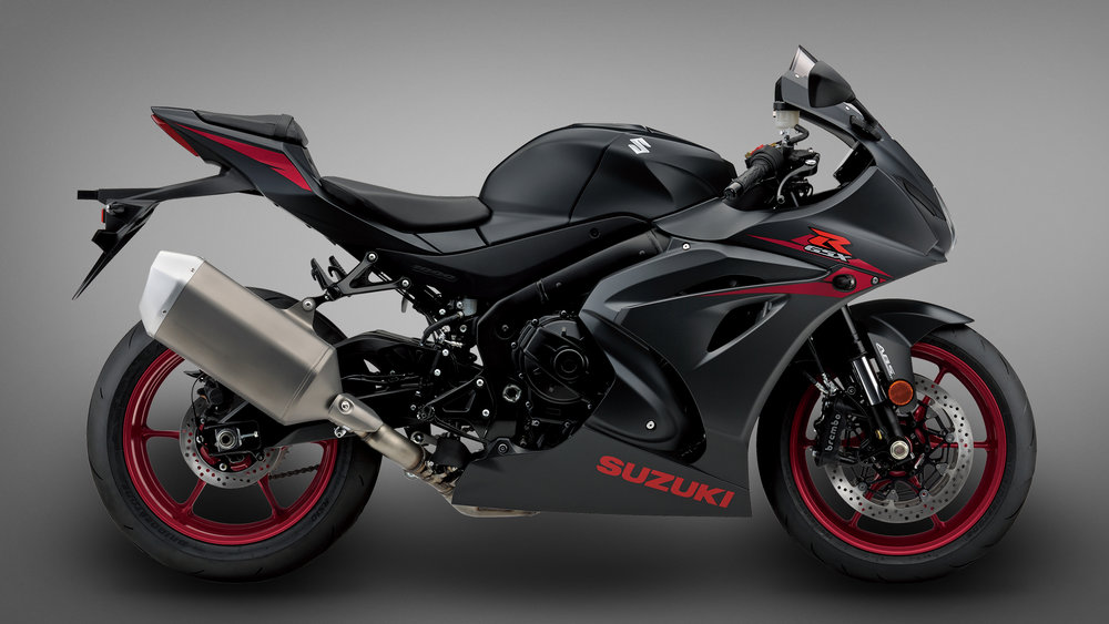 Suzuki's base model GSX-R comes in striking black with red highlights