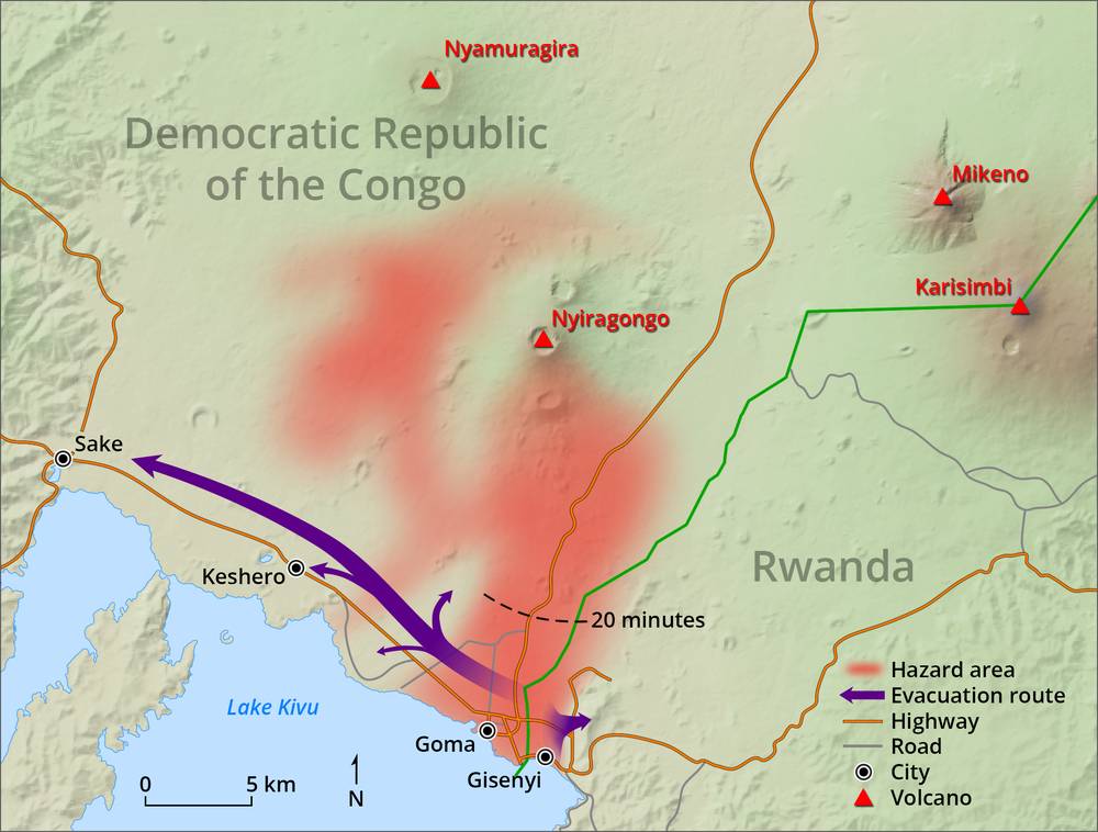 Evacuation Map for Nyiragongo