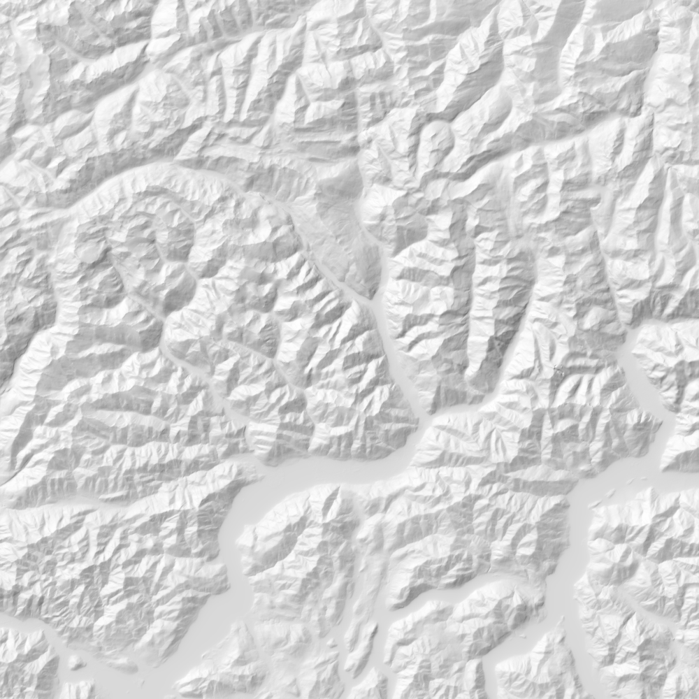 Shaded relief map of Graubünden, Switzerland.