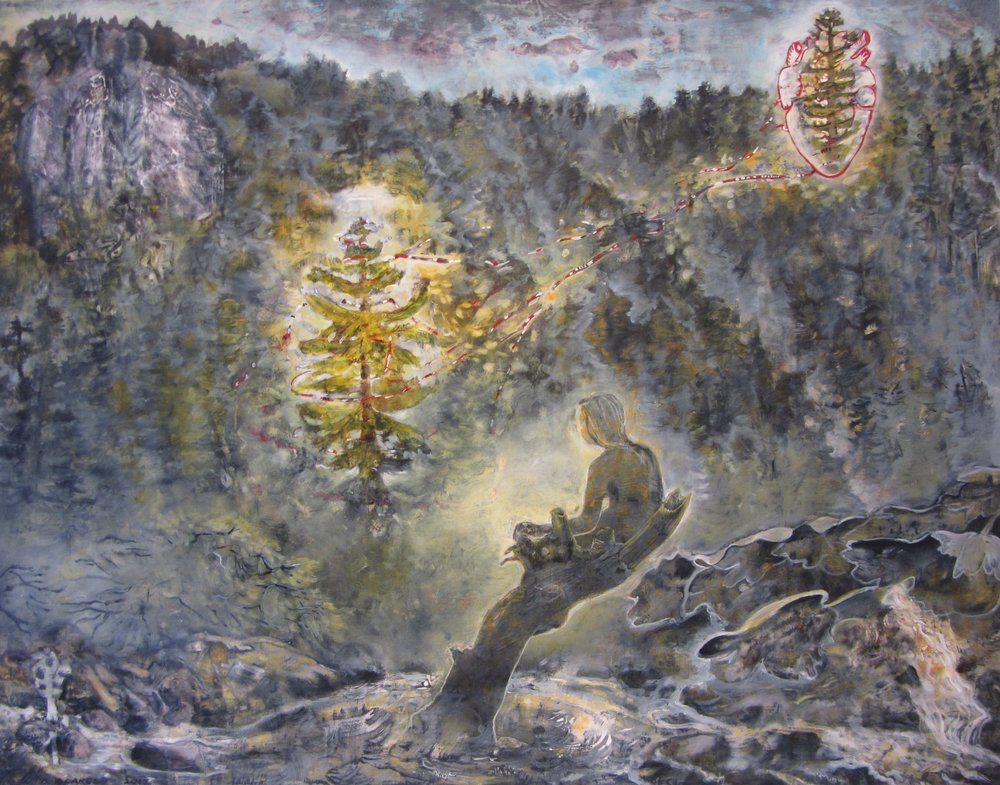 "Witnessing the Redwood Valentine on the Eastern Edge, 37""Hx48""W, oil, egg tempera on rag paper, 2017"