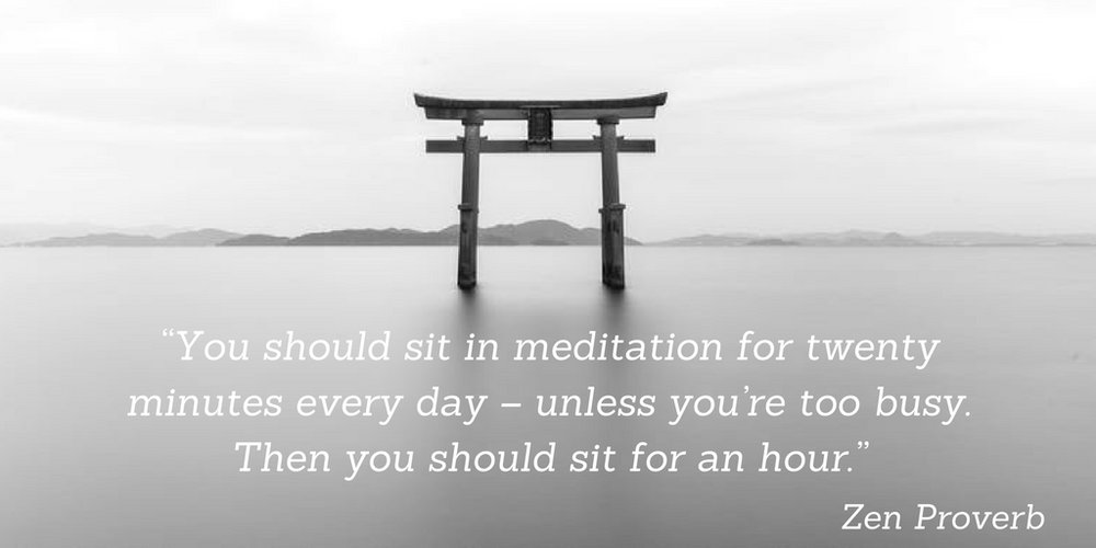You should sit in meditation for twenty minutes every day - unless you're too busy. Then you should sit for an hour. Zen Proverb.