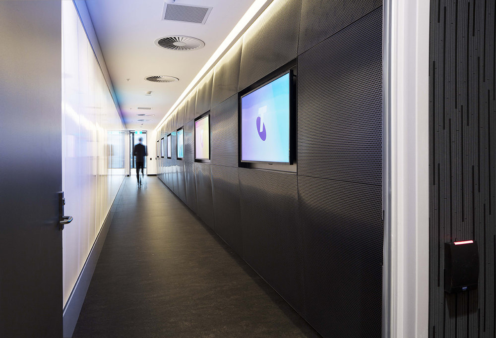 The entrance to the Telstra Security Operations Centre in Sydney.