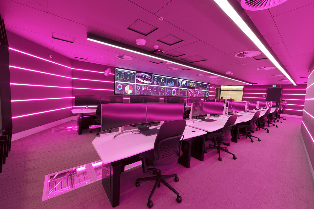 The security operations centre features LED Lighting Strips, that are programmable to create optimal working conditions.