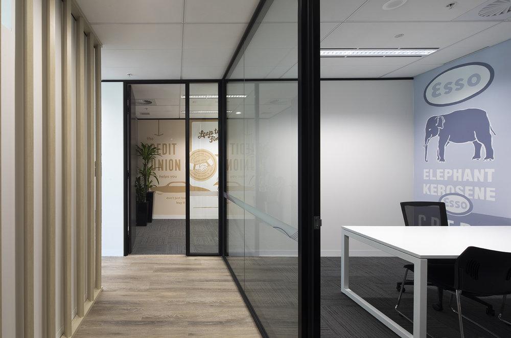Custom designed meeting rooms highlight Exxon Mobile brands
