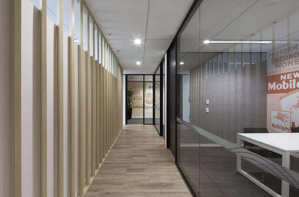A feature corridor featuring wooden pannelling