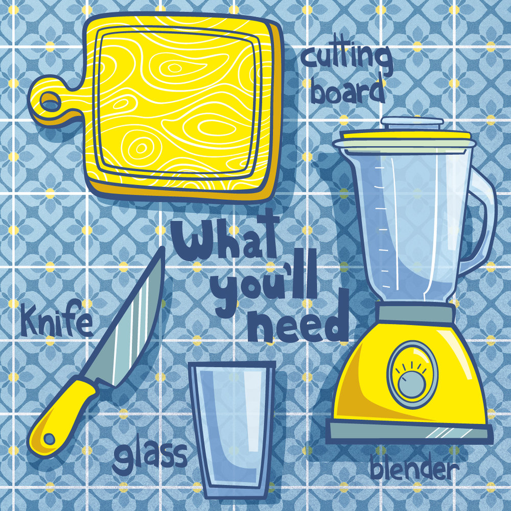 "Items required for making these juices. If you don't have a blender, you can just cut everything up and eat it like a ""salad"", which is very vintage. Also, yes, this image was me trying to experiment with a more limited color palette! Thanks for noticing! It was a struggle..."