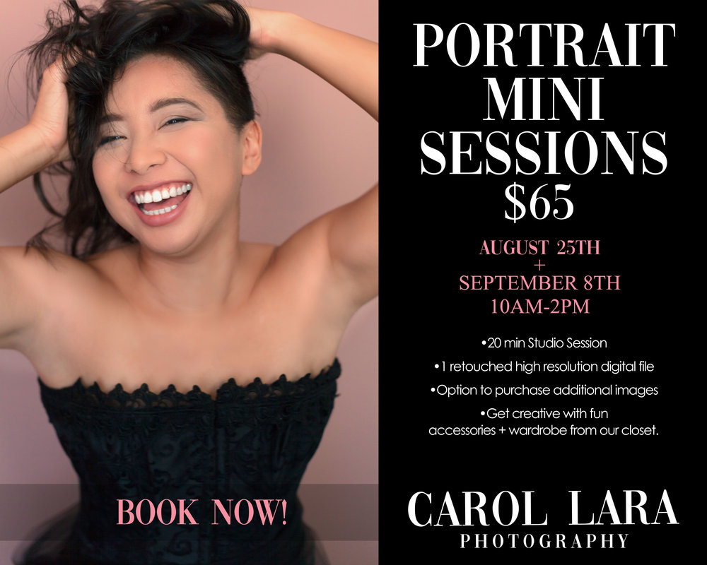 2 Days Only! - This is a great opportunity if you've never had your portrait taken by me. Come and try me out as your new photographer! If you're a returning client than you know just how rewarding it can be to have your portrait taken.I guide each of my clients through poses that are most flattering and make them feel their best.Just read what people have said here.Come and feel like a rock star for a moment and I promise you will want to come back for more!Two Days only-August 25th and September 8th. Book now before all spots are gone!