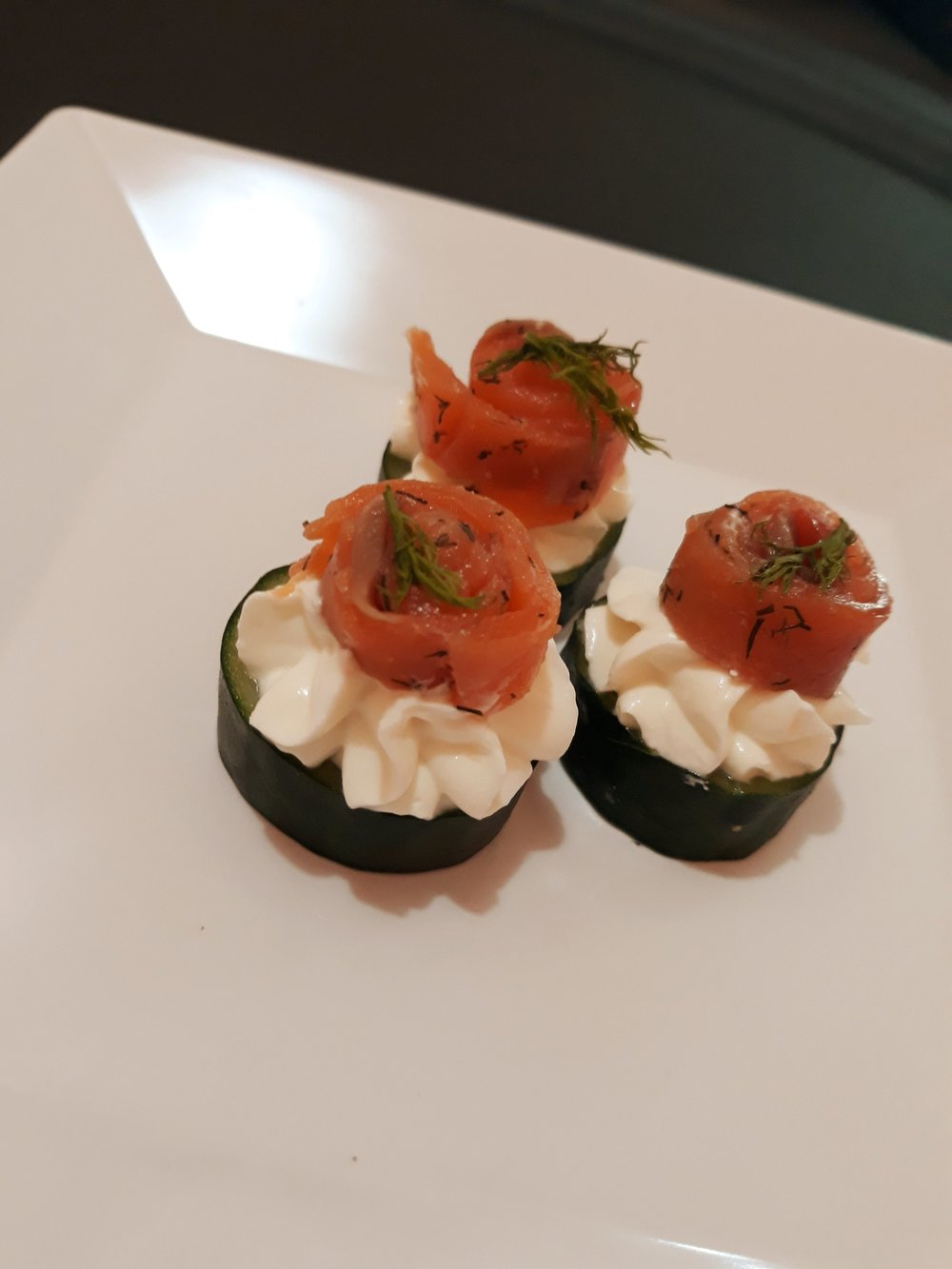 Cucumber canapes with whipped dill cream cheese & smoked salmon
