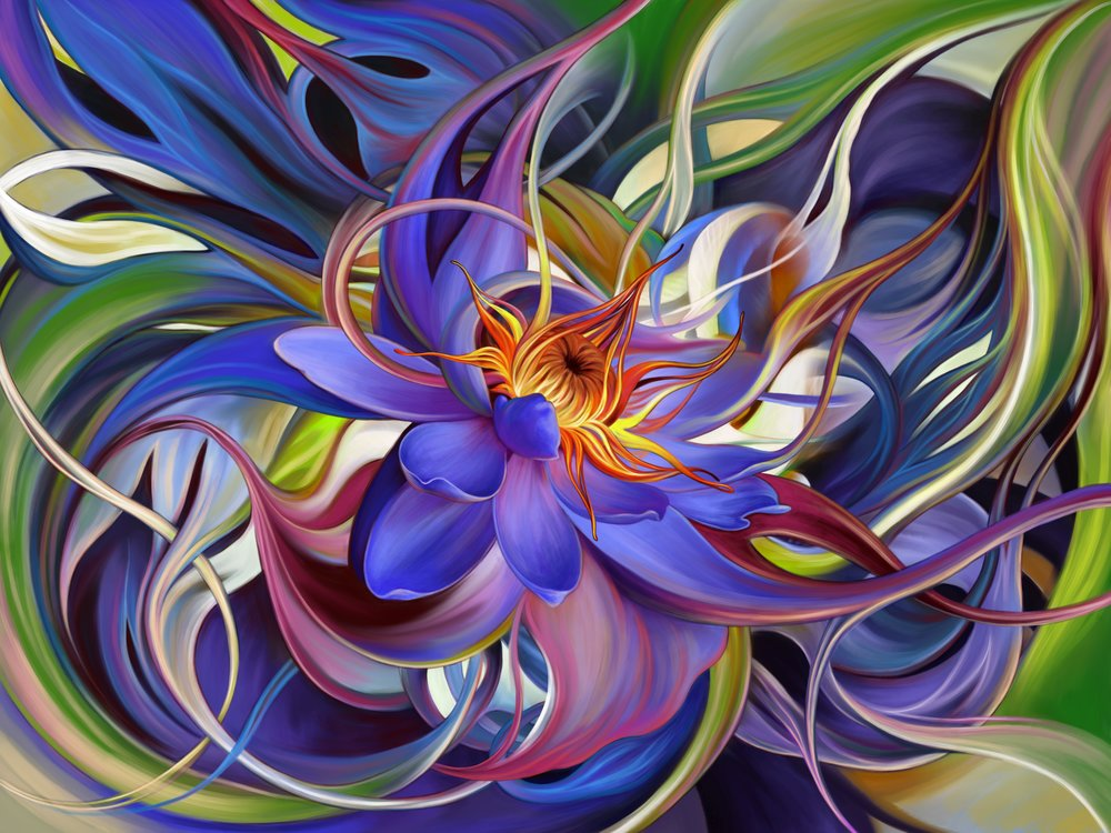 Water Lily , digital painting by Masha Keating.