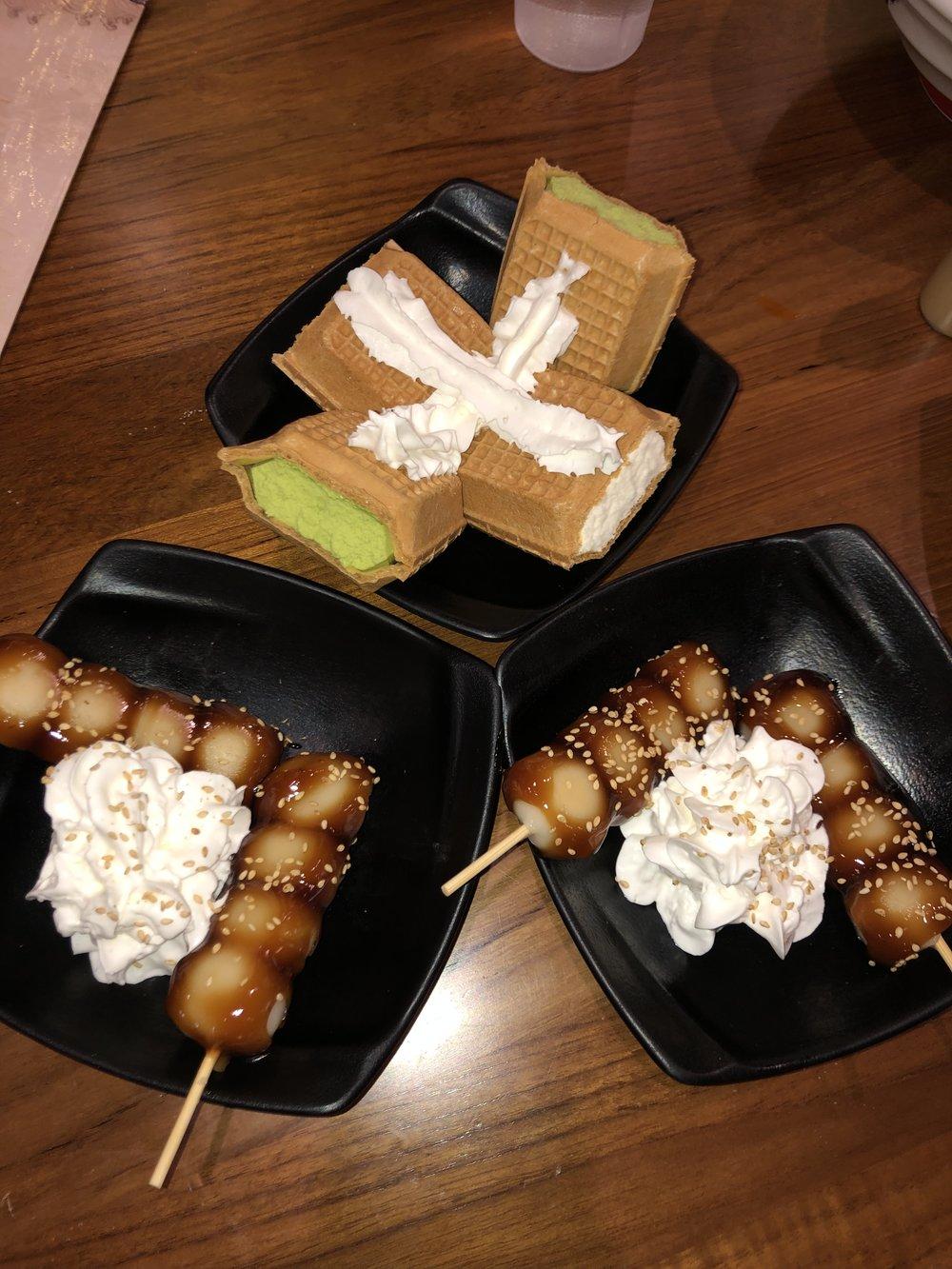 Mochi Dumplings (bottom), Japanese Style Waffles & Ice Cream (top)