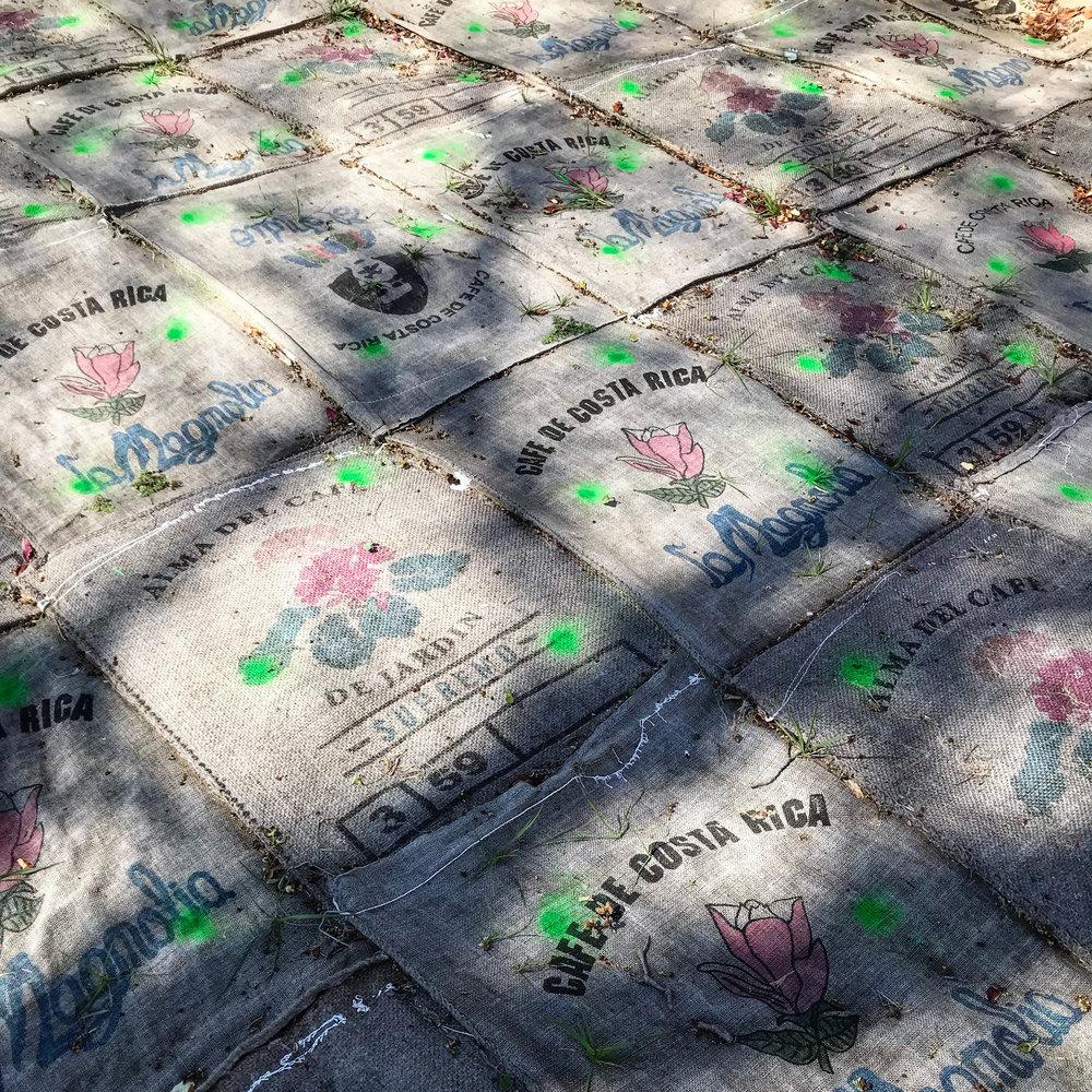 Burlap coffee sacks, landscape staples, utility marking paint.