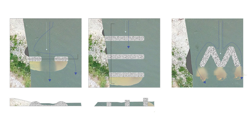 Virginia Eckinger, digital drawings showing the different functions of dikes when positioned differently against water flow.