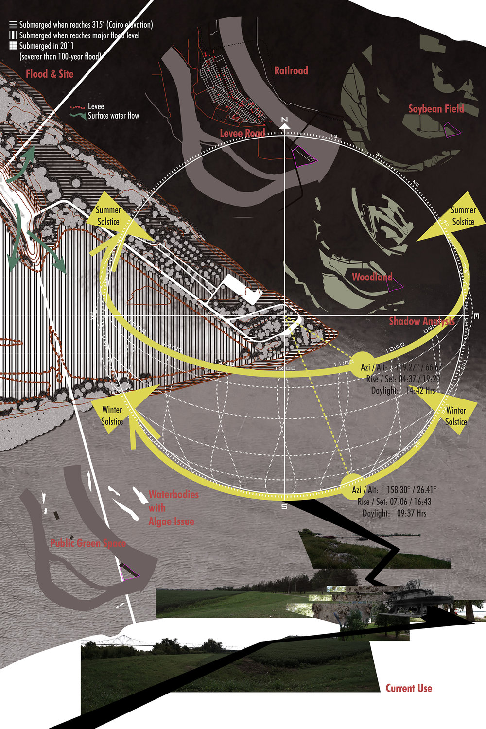 Dongzhe Tao, digital drawing showing site conditions, including the potential solar radiation for algae production.