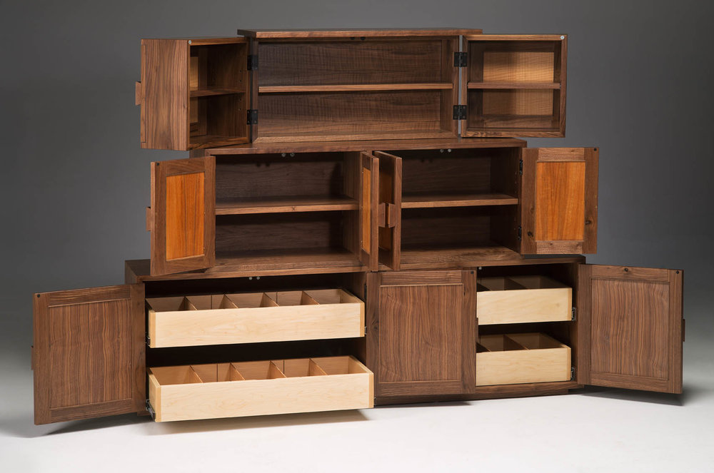 DESCRIPTION: Using The Traditional Japanese Storage Tansu As Inspiration,  This Cabinet Features 3 Types Of Storage: Swing Out CD Racks On Top, ...
