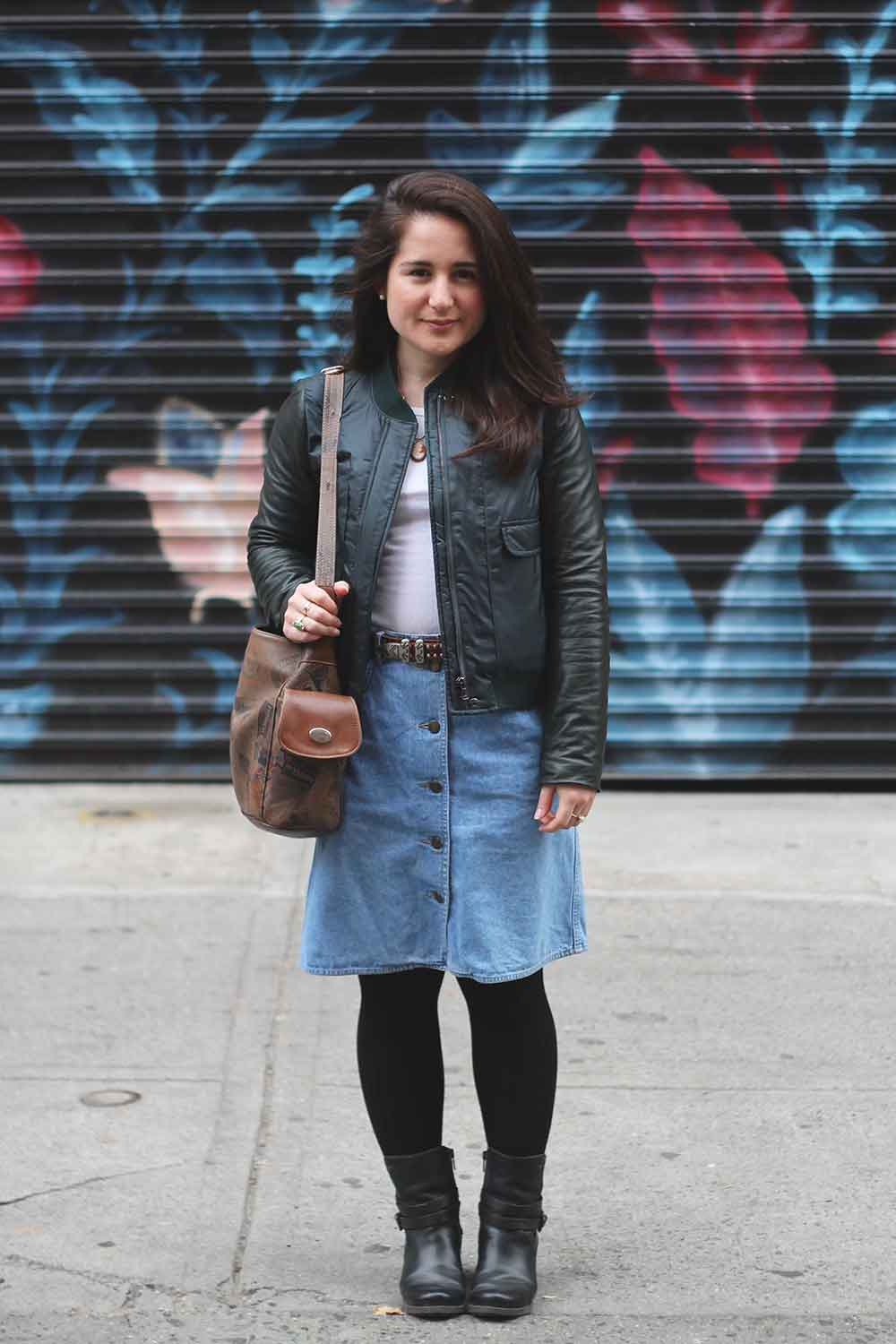 Leather Jacket:  Tory Burch  // White T-Shirt:  Forever 21  // Denim Skirt: Mom's Closet // Belt + Bag: Vintage // Boots:  PIKOLINOS
