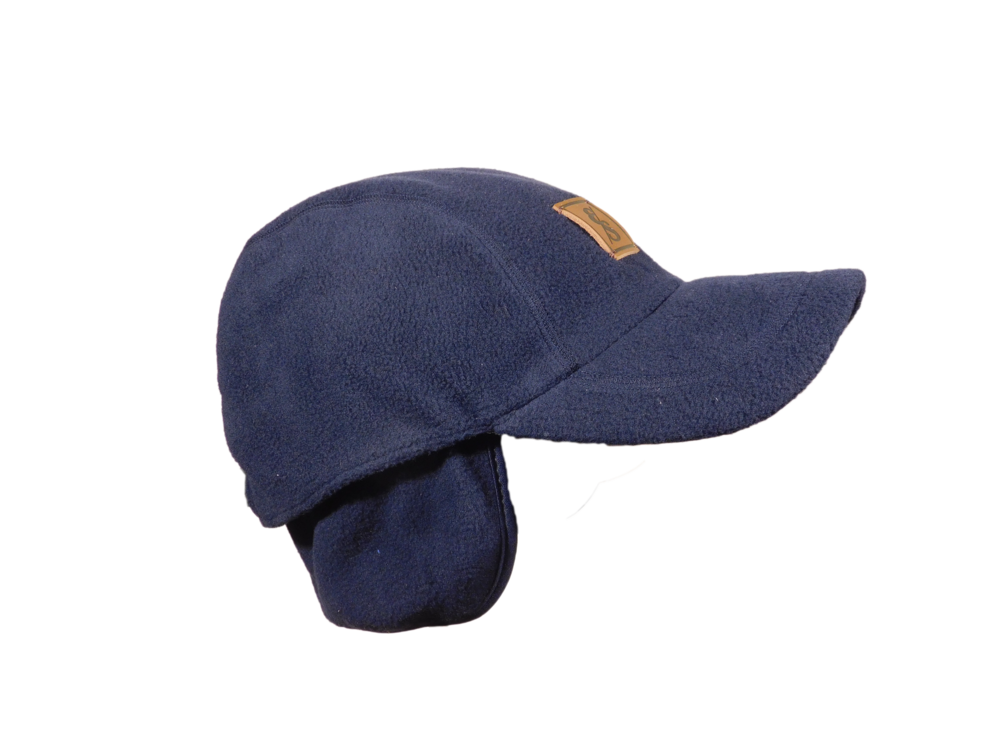 The Fleece Heater Navy Sideview Flaps down.png