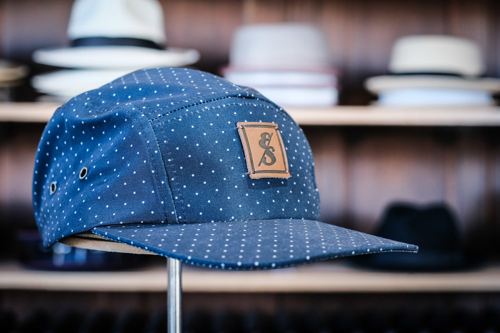 286 Microdot Print 5 Panel Hat on stand.jpg