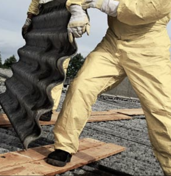 Removing asbestos roofing in yellow hazmat suit