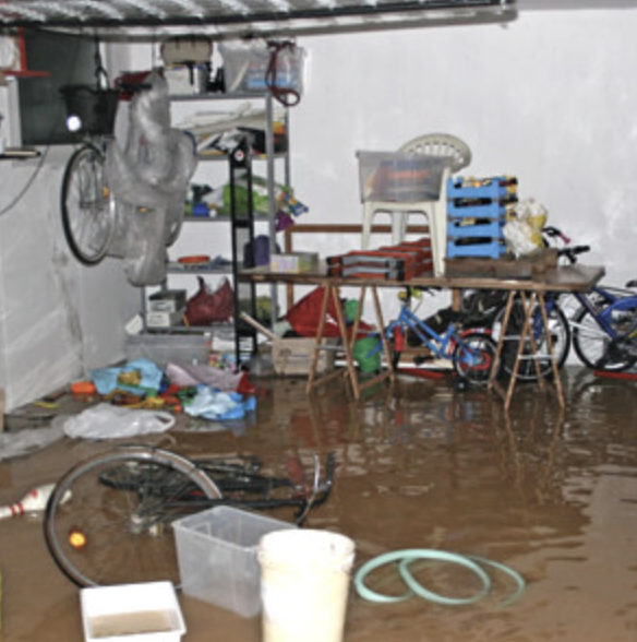 Flooded room in a house
