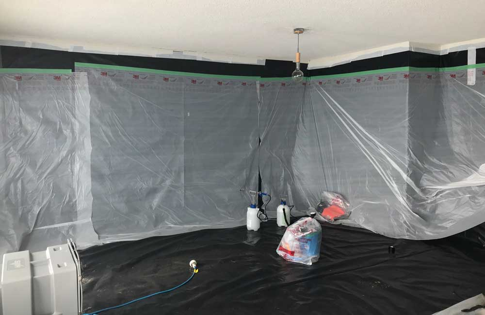A room that has been enclosed for asbestos removal