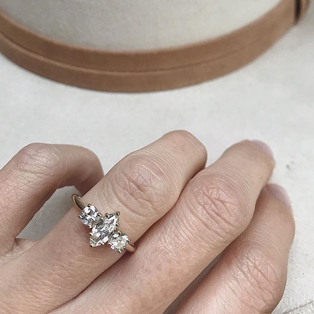 Never too late to start again. • Swipe to see a blurry shot of this babe's former life as a sapphire + diamond ring and stud earrings. I loveeeeee a good refresh, especially when I get to work with the dreamiest @eliza.loren