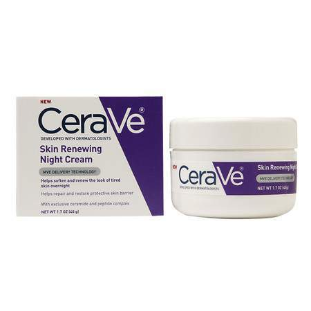 Cerave Skin Renewing Night Cream  - this is wonderful moisturizer that compliments a prescription skincare regimen perfectly. I use a Retin-A Micro which is wonderful but SO drying and this cream rehydrates my skin. Highly recommend for anyone on a retinoid or skin-lightening Rx product.