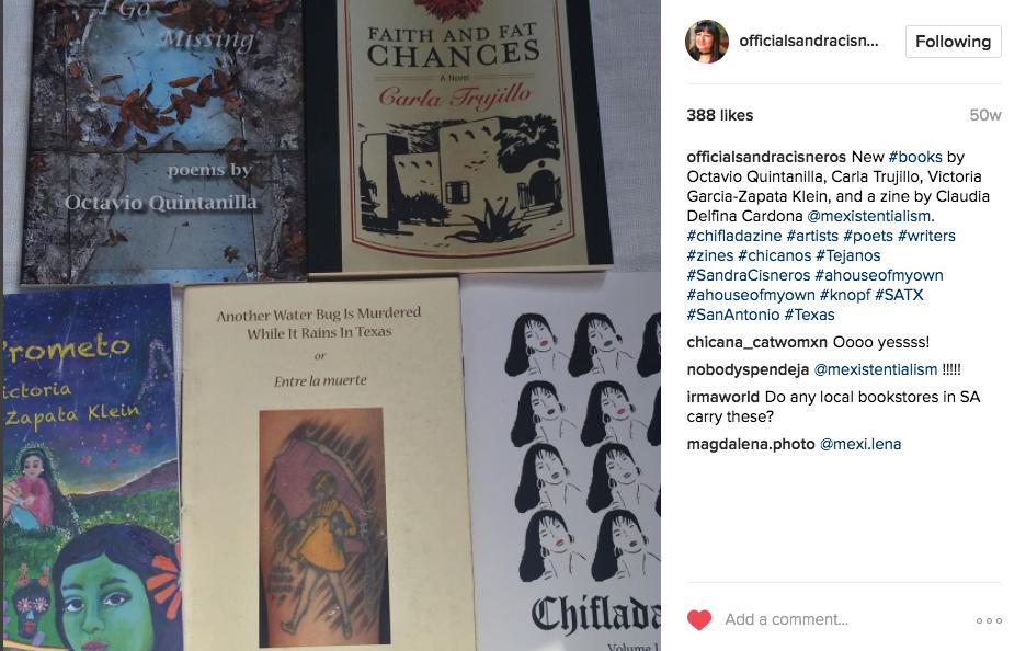 Cisneros' Instagram post mentioning CHIFLADAzine.
