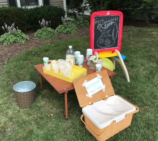 Our setup, which included white cheddar popcorn and - to keep everyone in our yard longer - soft batch chocolate-chip cookies...