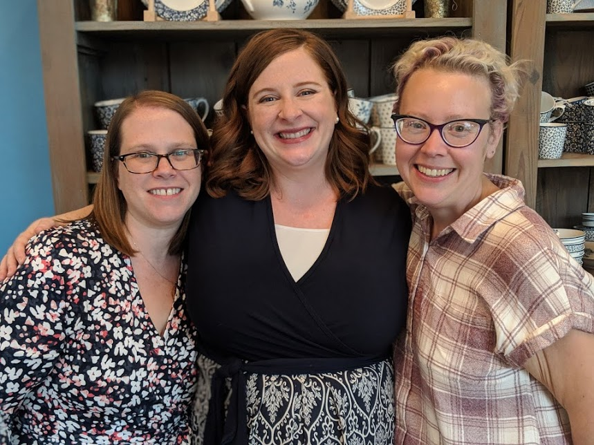 With two of my very dearest friends and hostesses of the shower. These ladies are the ones that scooped me up and did puzzles and drank tea with me right after we learned about Grace's diagnosis.