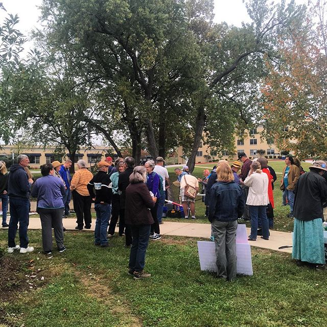 Lots of folks out for the Hands Across the Potomac event! We didn't help organize this event - we just want you to know about it! Come on out! We're in the grass to the right of Erma Ora Byrd Hall!