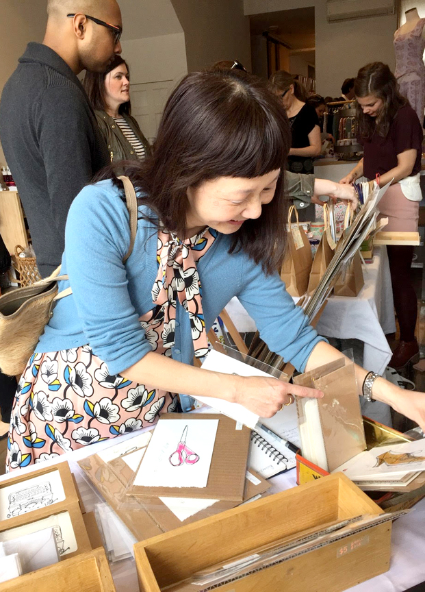 Emily: a favourite customer with a little glimpse of Elizabeth Olwen + Valerie Dennis in the bkgd