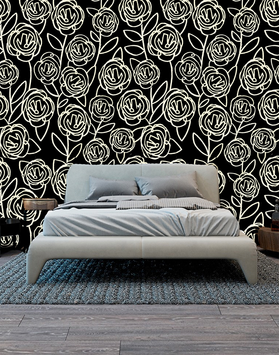Black Roses - seen here mocked up as wallpaper