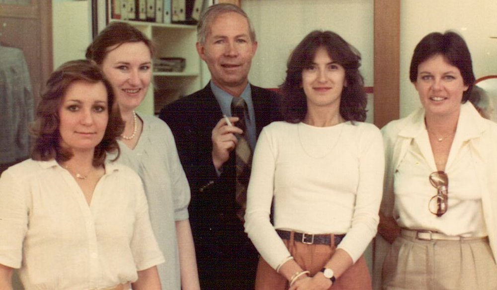 Gill Vieler, Gerda Pretorius, Jürgen Fomm, Bobby Vasiljkovich and Linda Rademeyer - 1979 in the Tafelberg Publishers office, Waalburg Building, Cape Town, South Africa
