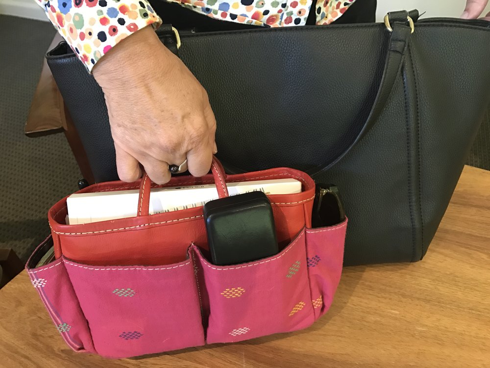 I love my handbag organiser: everything is in its place so I can grab it when I need it.