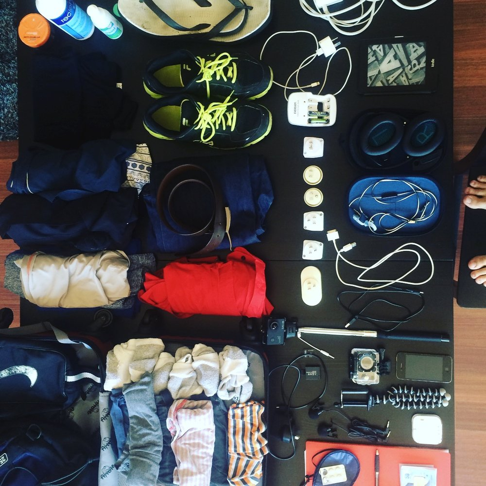James' carry on bag - for one year's worth of travel!