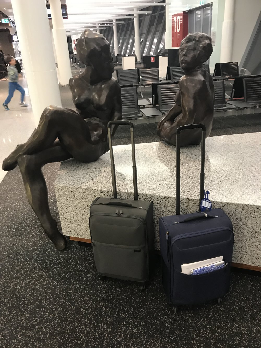 At the start of our trip: leaving Canberra airport with our matching Samsonite bags.