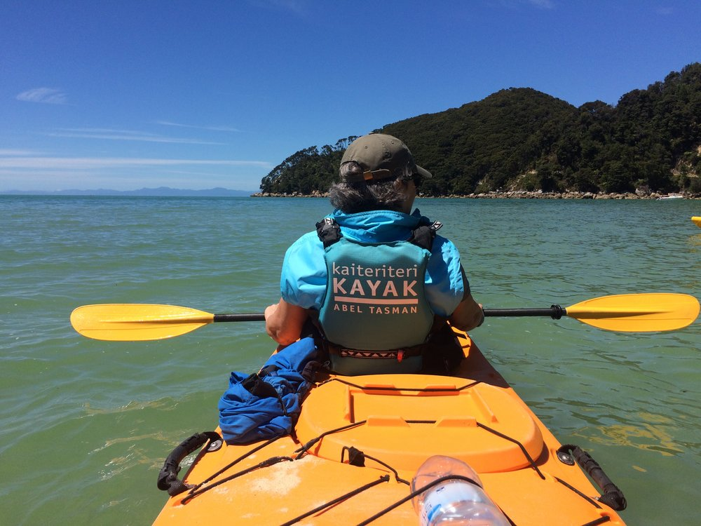 Slobodanka sea kayaking in the Abel Tasman nature reserve, New Zealand