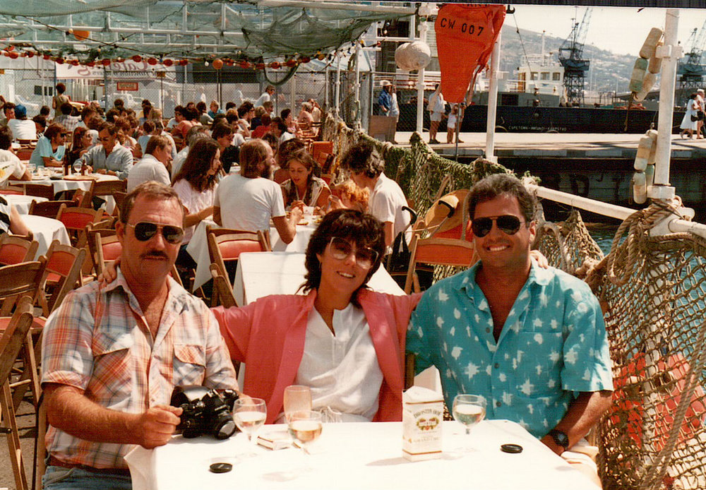 Back in the 80s, socialising after a long day on the water with (from left to right) Ray, Heather and Paul