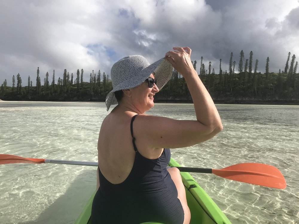 Kayaking at Ile des Pins, New Caledonia, wearing my floppy hat. Photo by Mr PetMan