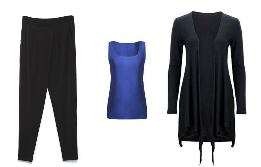 The Planepack capsule evening wear: slacks, short-sleeved top and wrap
