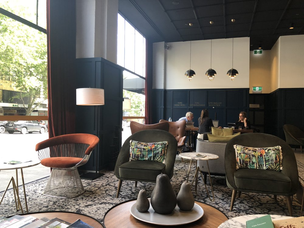The lounge at Veriu Hotel, Sydney (photo by Slobodanka Graham)