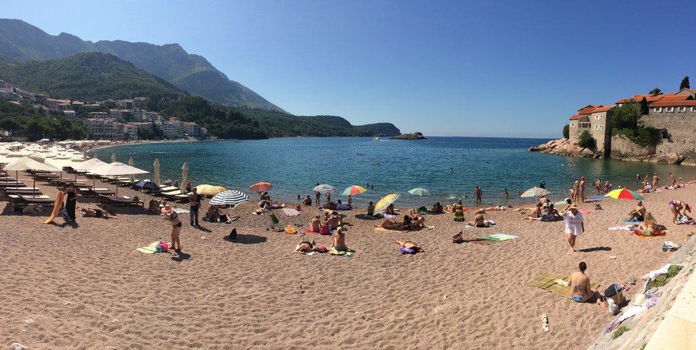 The beach at Sveti Stefan