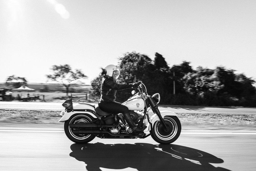 Harley Davidson FatBoy on the road Goiania