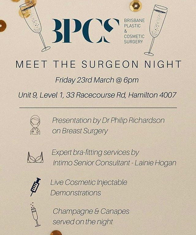 Really excited to be part of what will be a great night. Come along and 'get fitted', check out the new Autumn/Winter Intimo collection as well as as listen to a presentation on breast surgery by Dr Phil Richardson and watch live cosmetic injectable demonstrations also. DM, call or text me for the link😀