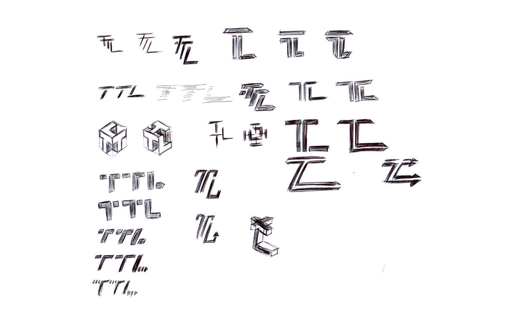 Sketching some options for the three letters TTL the client wanted to incorporate.